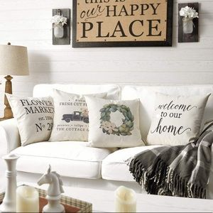 4 Decorative Throw Pillow Covers Rustic Farmhouse